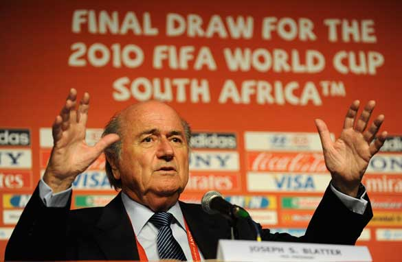 FIFA President Sepp Blatter ahead of the World Cup draw in Cape Town.