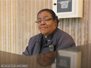 Private Patricia George, a security guard at CNN's headquarters in Atlanta.
