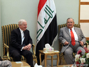 Defense Secretary Gates met Thursday with Iraqi President Jalal Talabani, pictured, but Gates' meeting with the Iraqi Prime Minister Nuri al-Maliki was canceled.