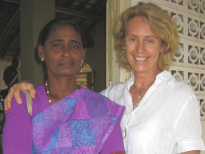 Filmmaker Beate Arnestad with the mother of Darshika  a young woman who joined the Tamil Tigers in Sri Lanka.