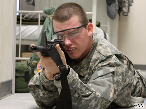Army recruit Will McLain is in week three of basic training at Fort Leonard Wood, Missouri.