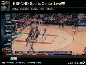 A user streams ESPNHD live on Justin.tv
