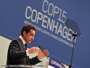 French President Nicolas Sarkozy delivers a speech in Copenhagen on the 11th day of the COP15 UN Climate Change Conference.