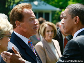 &#039;Hes a great speaker, a great communicator,&#039; Gov. Schwarzenegger said of the president.