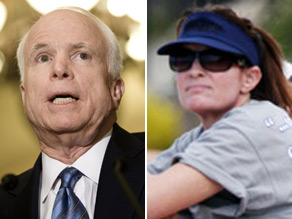 McCain says he&#039;s not offended his former running mate blacked out his name for her visor.