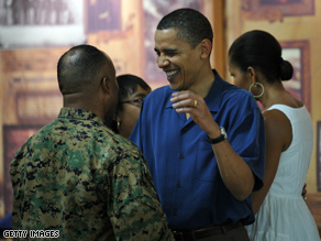The Obama visited with Marines and their families in Hawaii on Christmas.