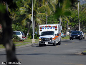 An ambulance leaves the neighborhood where President Obama and his family are vacationing in Hawaii.  