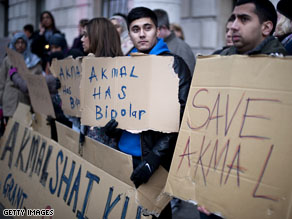 Supporters of British national Akmal Shaikh hold a vigil at the Chinese Embassy in London.