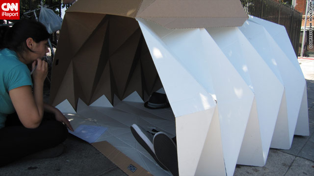 "The ""Cardborigami"" can comfortably shelter two people."