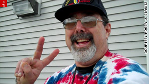 Roger J. Stavitz said brightening the days of fellow veterans at a VA clinic is part of &quot;my own therapy.&quot;