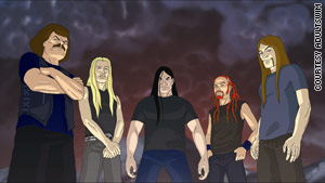 "Dethklok on ""Metalocalypse"": William Murderface, Skwisgaar Skwigelf, Nathan Explosion, Pickles and Toki Wartooth."