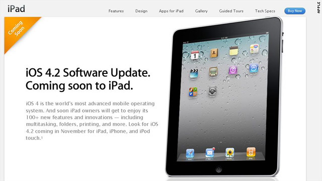 A page on Apple's website promises a software update will bring more than 100 new features to the iPad.