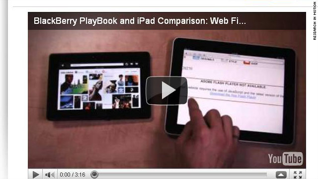 Video posted Tuesday by BlackBerry maker RIM appears to show head-to-head comparison of their PlayBook tablet and the iPad.