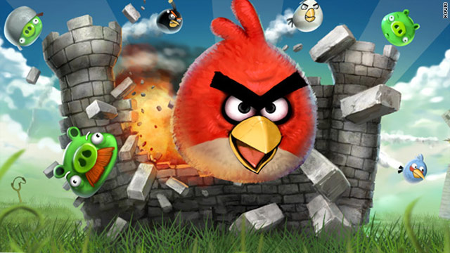 """Angry Birds"" is a mobile game in which birds launch themselves at pigs who stole their eggs."