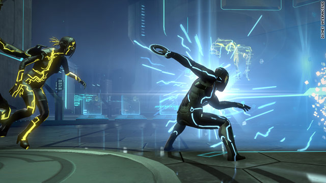 """Fights with """"Tron's"""" iconic battle discs are one of the features that will be familiar to longtime fans in """"Tron: Evolution."""""""