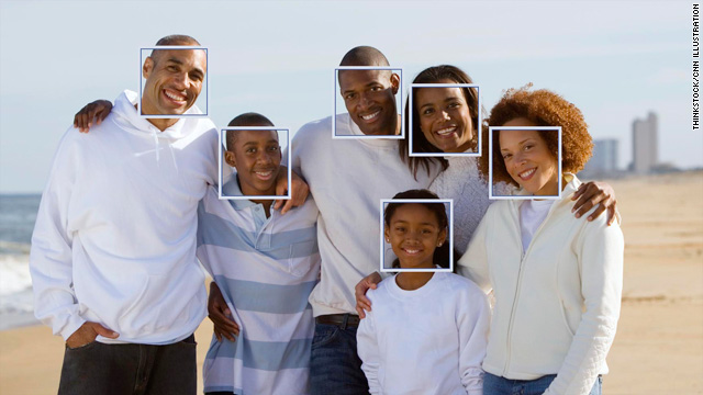 As shown in this photo illustration, software that recognizes or detects faces has been added to sites like Facebook and Picasa.
