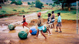 Girls help collect water in Africa, and the Hippo Water Roller cuts down on the number of trips they must make.
