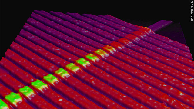 HP Labs has developed a prototype for a new kind of computer memory called the memristor, shown here under a microscope.