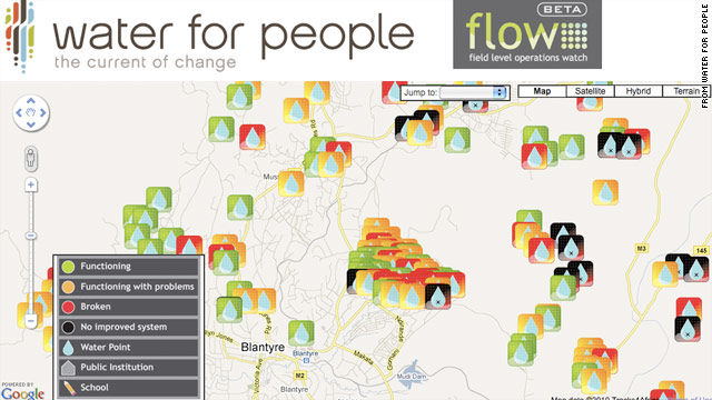 The Flow app for Android plots working and broken water pumps in the developing world.