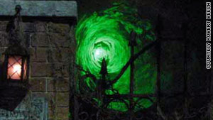"""Brandywine Cemetery's """"Laser Tunnel"""" project combines a mirror, a laser pointer and a smoke machine."""