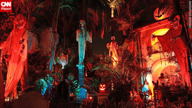 Ken Carlson's Halloween display attracts hundreds of visitors each year.