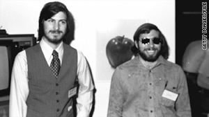 Apple Computer co-founders Steve Jobs (left) and Steve Wozniak at the first West Coast Computer Faire, where the Apple II computer debuted in 1977.