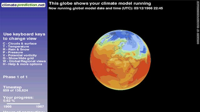 Users who sign up to the www.climateprediction.net project can see graphic representations of the climate model on their PC.