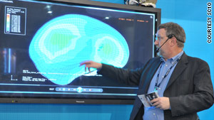 John Hengeveld of Intel shows the impact of concussions on the brain based on data from football helmet sensors.