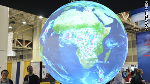 """Science on a Sphere"" is a NOAA system that uses computers and projectors to display climate simulation data."