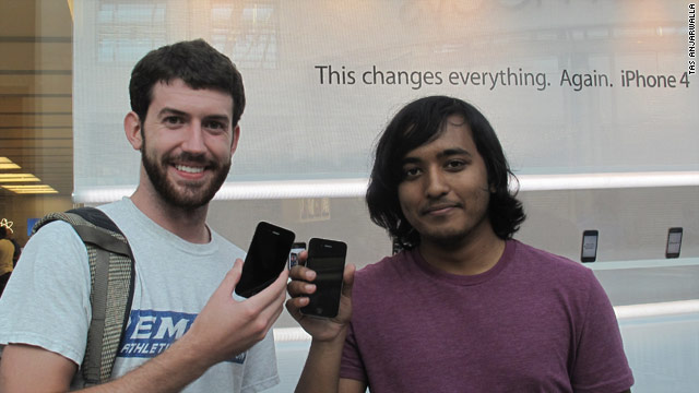Seth Herren, left, and Tauseef Anam say they waited in line 20 hours for the iPhone 4 at Lenox Square mall in Atlanta, Georgia.