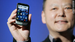Peter Chou, CEO of HTC, holds the Google Nexus One running the Android platform.
