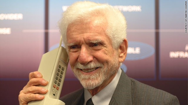"Martin Cooper talks on the ""DynaTAC,"" the first commercial cell phone, which hit the market in 1983."