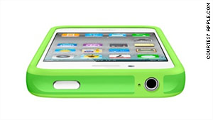"Apple doesn't guarantee which type of case iPhone 4 consumers will get. A ""Bumper"" case is shown."