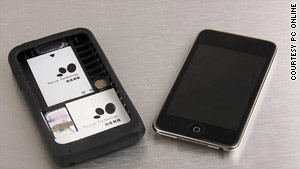 "The ""Apple Peel 520"" -- a converted iPod Touch that makes calls -- is an example of China's growing ""shanzhai"" market."