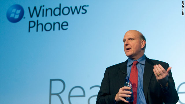 Microsoft CEO Steve Ballmer announced Windows Phone 7 in February.