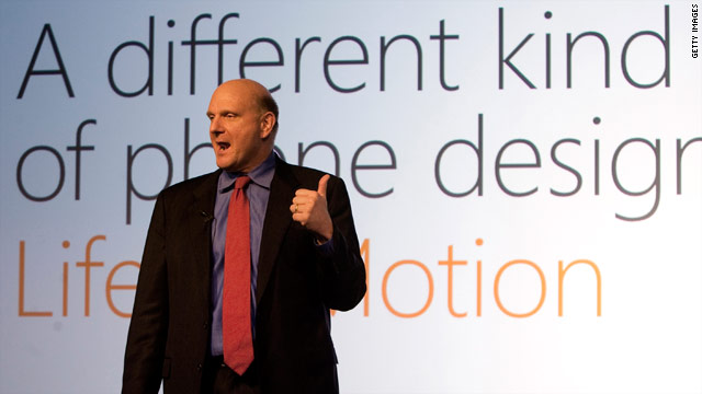 Microsoft CEO Steve Ballmer speaks at the Mobile World Congress in February 2010.
