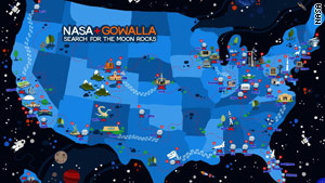 NASA has teamed up with mobile check-in app Gowalla, creating a game to collect virtual goods.