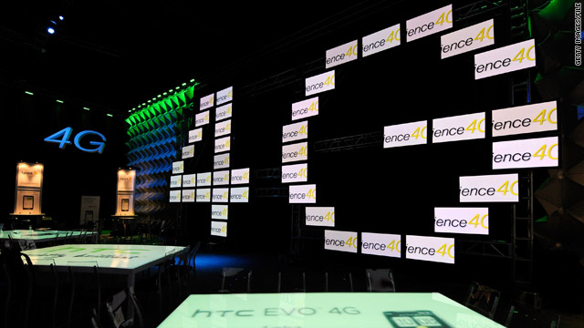 Signs for 4G are displayed in the Sprint room at the International CITA Wireless convention in Las Vegas in March.