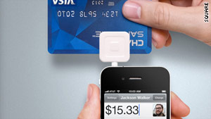 Square uses a plastic reader to get credit-card information and process payments through your phone.