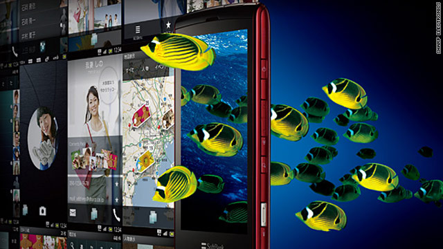 The Sharp Electronics smartphone, featuring 3-D images, above, will be available in Japan in December.