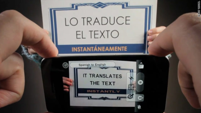 Word Lens' app for the iPhone automatically translates text right before you. It currently translates between English and Spanish.