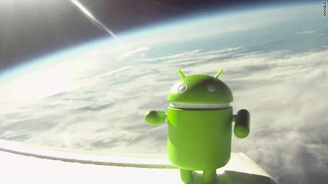 Androids in space! Google launched seven Nexus S smartphones into orbit, using air balloons.