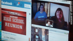 Jason Bell, Julian Bell and Maria Black chat via webcam on a Facebook page set up for grads of Mandan High School.