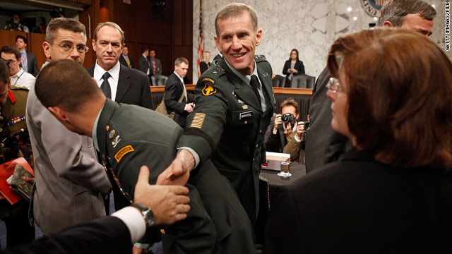 Gen. Stanley McChrystal shakes the hand of a supporter before testifying to the Senate Armed Services Committee last year.