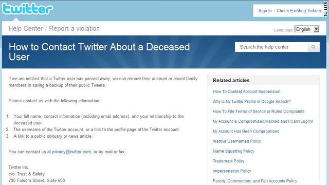 Twitter's policy requires several pieces of information about how an interested party relates to the deceased user.