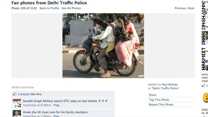 Delhi's traffic police have set up a Facebook page, enabling commuters to file complaints against bad fellow drivers.