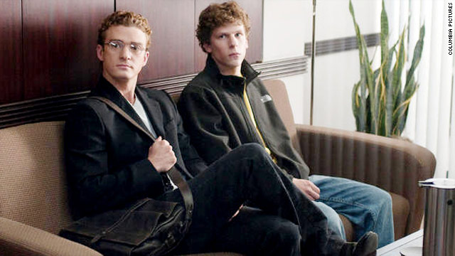 "Justin Timberlake, left, and Jesse Eisenberg in ""The Social Network,"" which may affect people's perception of Facebook."