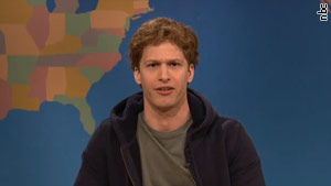 "Andy Samberg as Facebook CEO Mark Zuckerberg on last weekend's ""Saturday Night Live."""