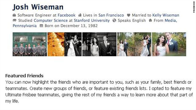 Facebook engineer Josh Wiseman shared his profile page, using the new design update, on Facebook's blog.