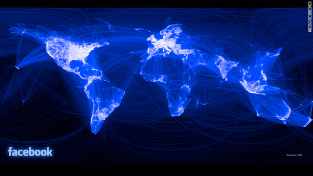 Facebook intern Paul Butler created a visualization of Facebook connections around the globe.